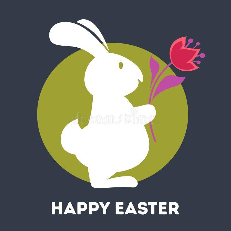 Coniglietto della cartolina d'auguri di Pasqua e fiore bianchi felici del tulipano royalty illustrazione gratis