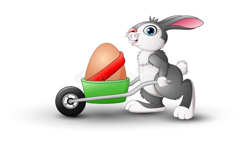 Coniglietto di pasqua che spinge un carretto delle uova di Pasqua illustrazione di stock