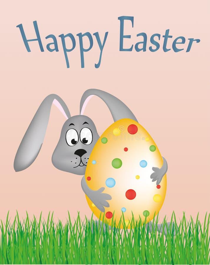 Coniglietto di pasqua che tiene un grande uovo decorato Coniglio sull'erba Cartolina d'auguri royalty illustrazione gratis
