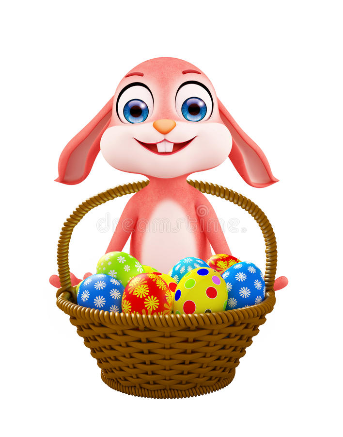 Coniglietto di pasqua con il canestro dell'uovo illustrazione di stock