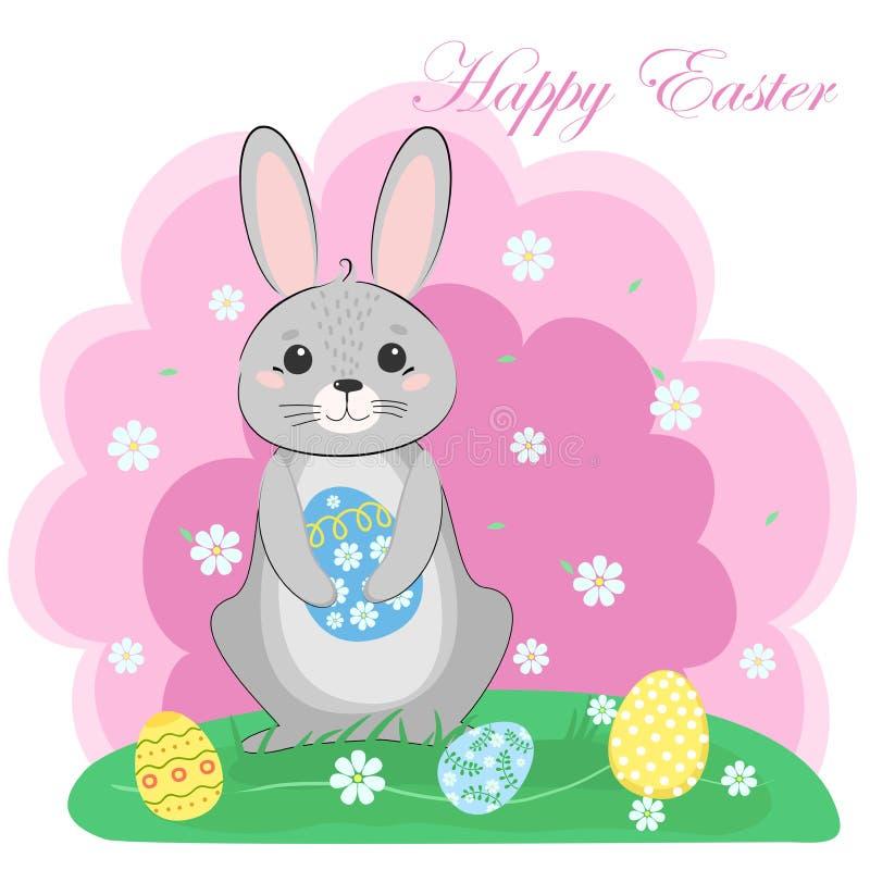 Coniglietto di pasqua con l'uovo verniciato molla del ` s Celebrazione di stagione illustrazione di stock