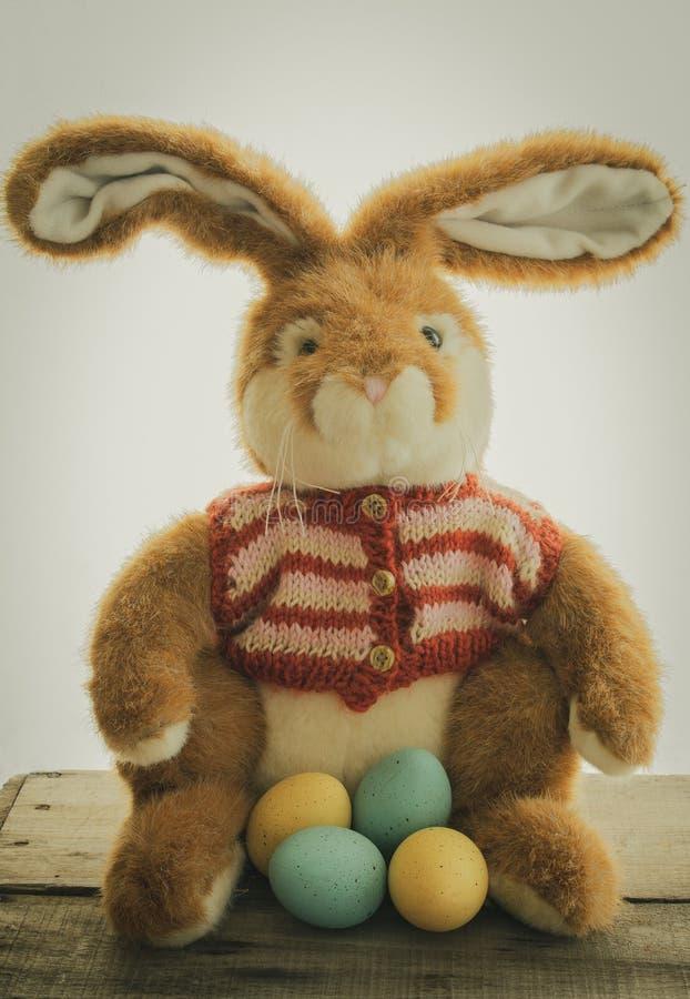 Coniglietto di pasqua con le uova di Pasqua immagini stock