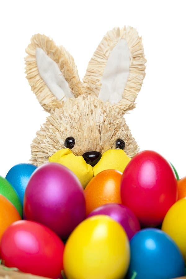 Coniglietto di pasqua con le uova di Pasqua colourful immagine stock