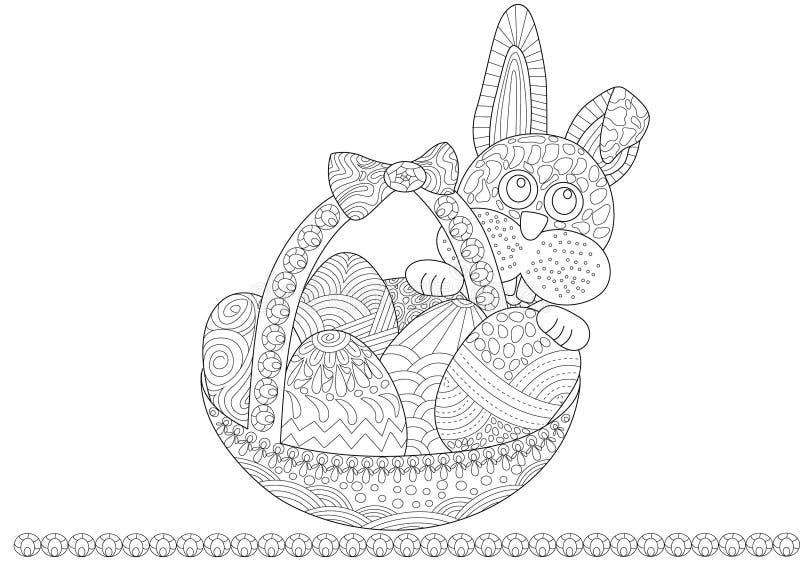 Coniglietto di pasqua con un cestino royalty illustrazione gratis