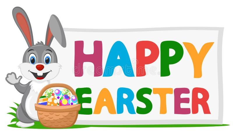 Coniglietto di pasqua con un secchio delle uova colorate Cartolina d'auguri illustrazione di stock
