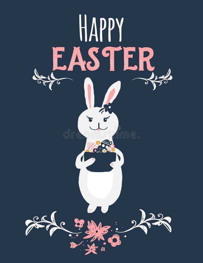 Coniglietto di pasqua d'annata del fumetto su fondo scuro con floreale Illustrazione sveglia di coniglio con Pasqua felice illustrazione di stock