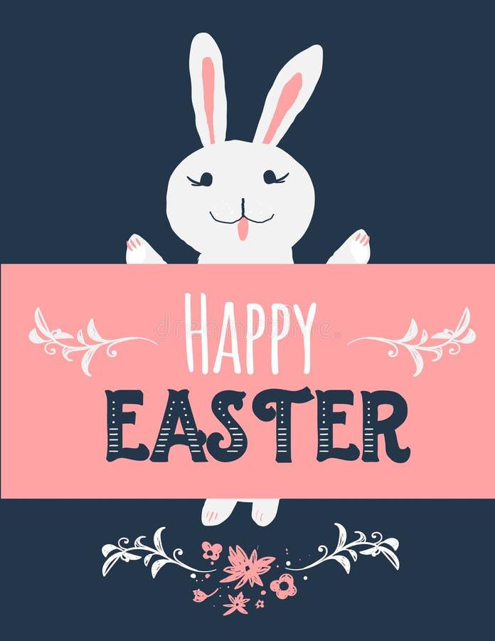 Coniglietto di pasqua d'annata del fumetto su fondo scuro con l'insegna illustrazione di coniglio sveglio con il saluto felice di royalty illustrazione gratis