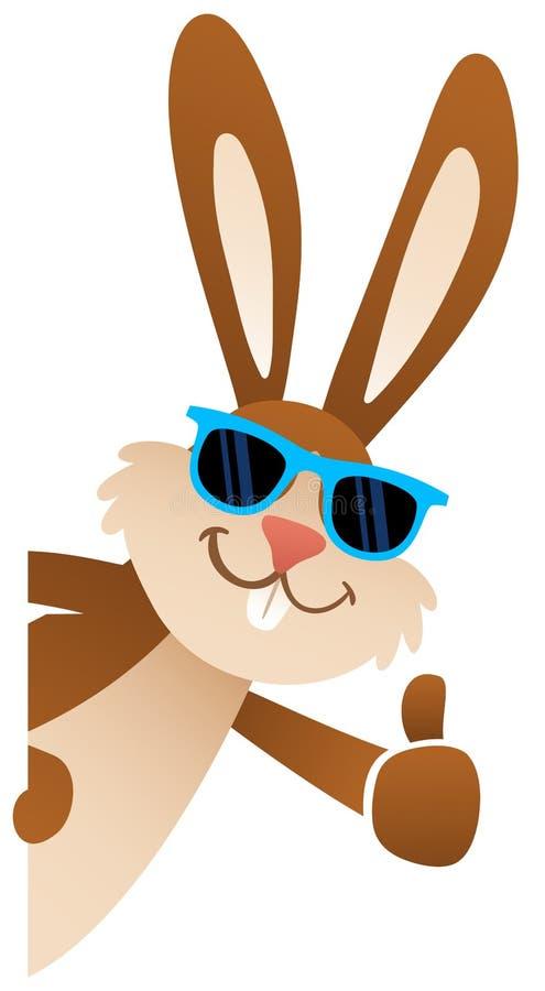 Coniglietto di pasqua del fumetto che dà i pollici sugli occhiali da sole d'uso che danno una occhiata dietro il bordo in bianco, royalty illustrazione gratis