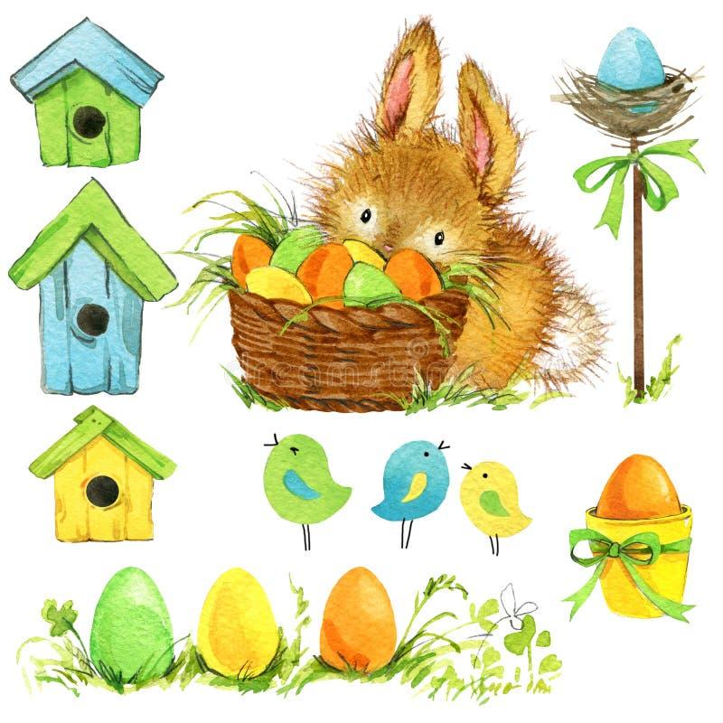 Coniglietto di pasqua ed uovo di Pasqua con la decorazione del giardino Fondo per le congratulazioni watercolor royalty illustrazione gratis