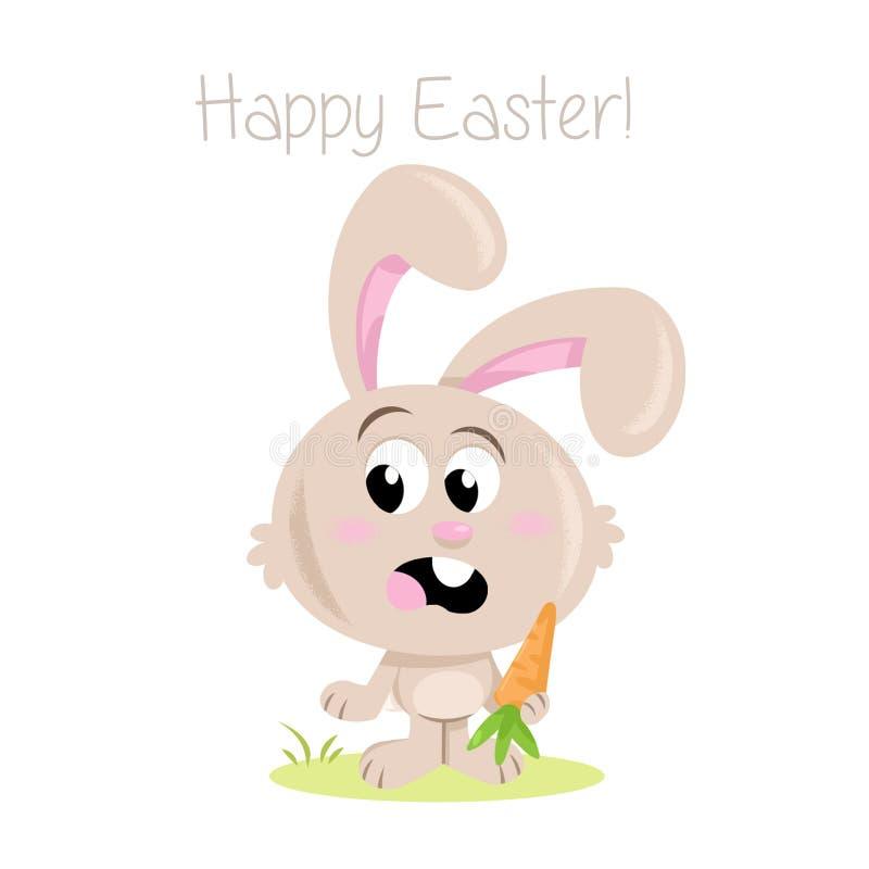 Coniglietto di pasqua felice! - Piccoli coniglietto e carota di pasqua adorabili illustrazione vettoriale