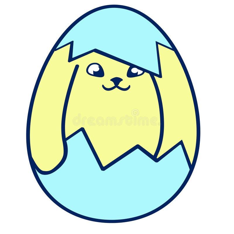 Coniglietto di pasqua piccolo sveglio Illustrazione di vettore isolata su fondo illustrazione di stock