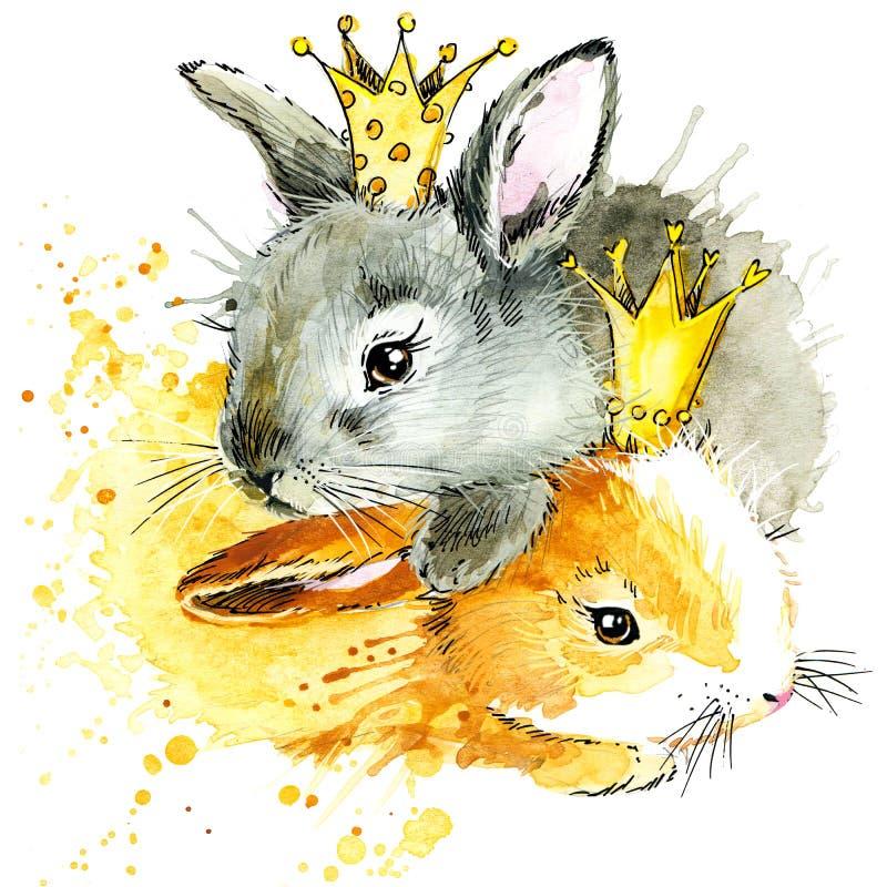 Coniglietto divertente, fondo dell'acquerello illustrazione di stock