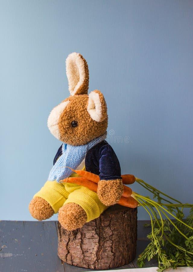 Coniglietto dolce con tre carote arancio immagini stock libere da diritti