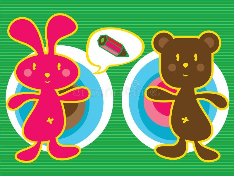 Coniglietto e orsacchiotto illustrazione vettoriale