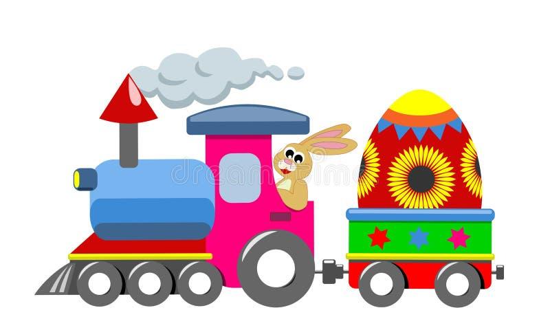 Coniglietto e treno di pasqua felici illustrazione di stock