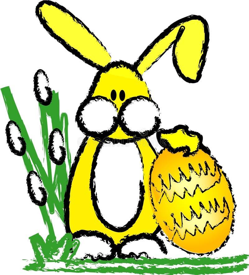Coniglietto ed uovo di pasqua illustrazione vettoriale