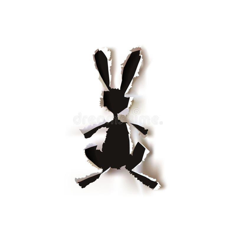 Coniglietto, raccolta di carta strappata illustrazione vettoriale