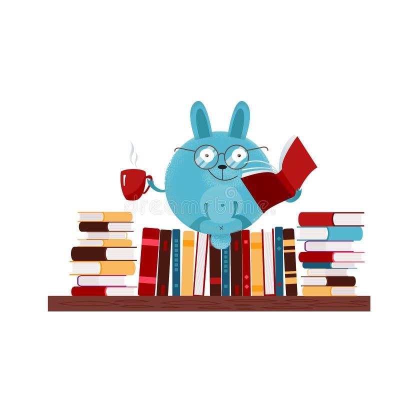 Coniglietto rotondo disegnato a mano di fantasia in vetri che si siedono sullo scaffale per libri, tè bevente, libro di lettura V illustrazione vettoriale