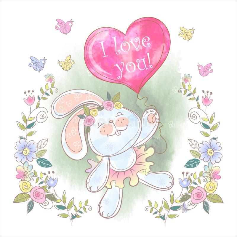 Coniglietto sveglio con un pallone sotto forma di calore valentine Ti amo Vettore watercolor fotografia stock libera da diritti