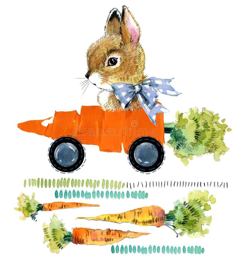 Coniglietto sveglio Coniglio selvaggio illustrazione della carota dell'acquerello royalty illustrazione gratis
