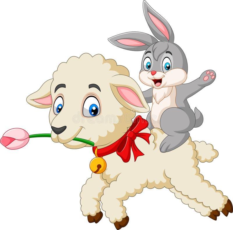 Coniglietto sveglio del fumetto che guida un agnello illustrazione di stock