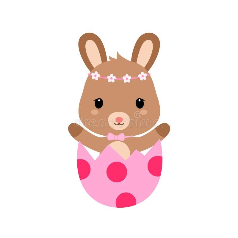 Coniglietto sveglio del fumetto dentro l'uovo di Pasqua incrinato Vettore royalty illustrazione gratis