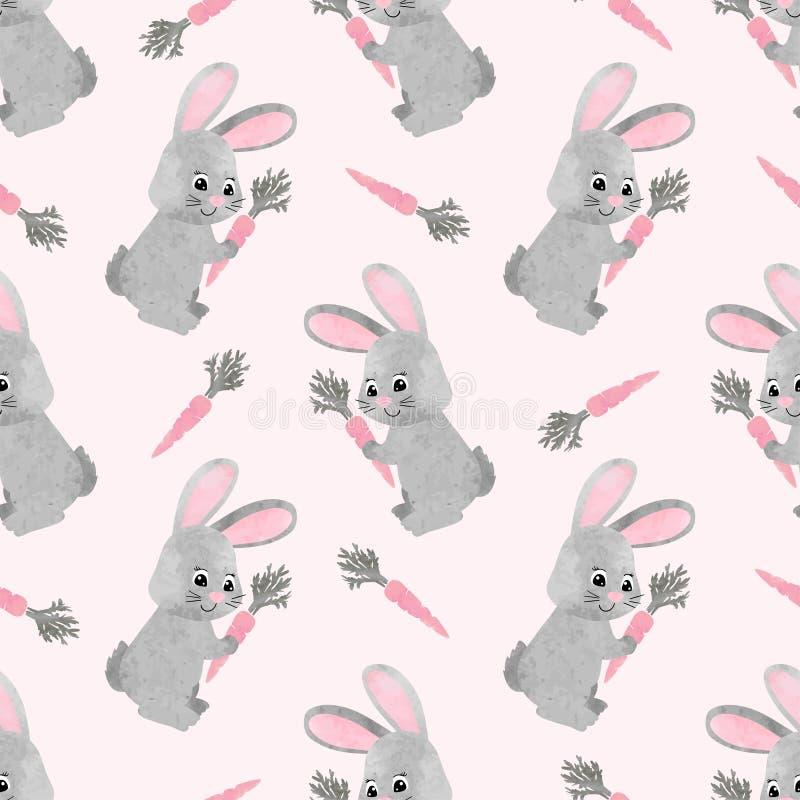 Coniglietto sveglio dell'acquerello senza cuciture con il modello della carota royalty illustrazione gratis