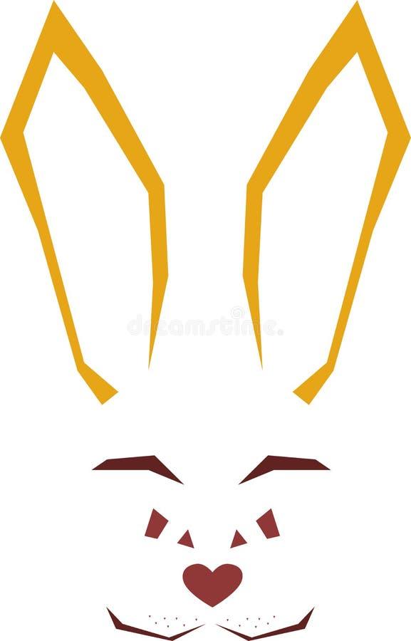 Coniglio animale lineare geometrico isolato su un rettangolo bianco illustrazione vettoriale