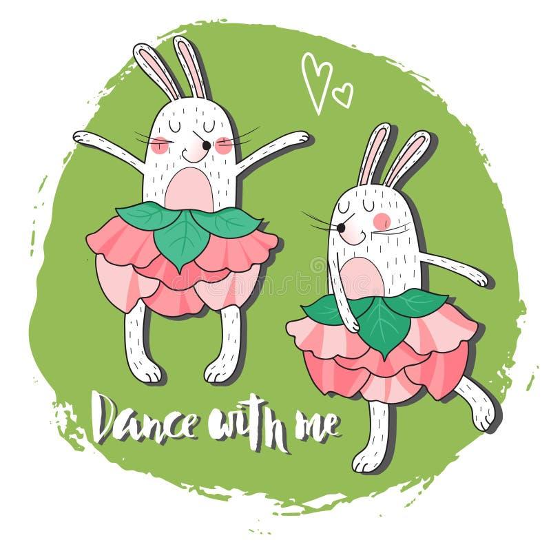 Coniglio ballante due royalty illustrazione gratis