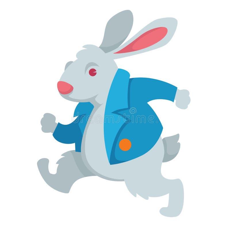 Coniglio bianco Alice nel carattere leggiadramente del paese delle meraviglie illustrazione di stock