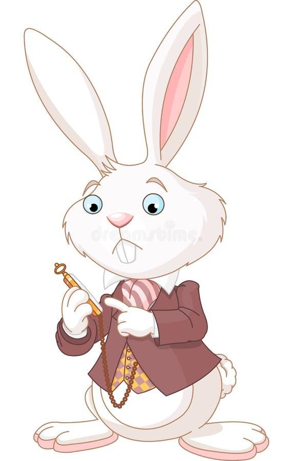 Coniglio bianco con la vigilanza di casella illustrazione vettoriale