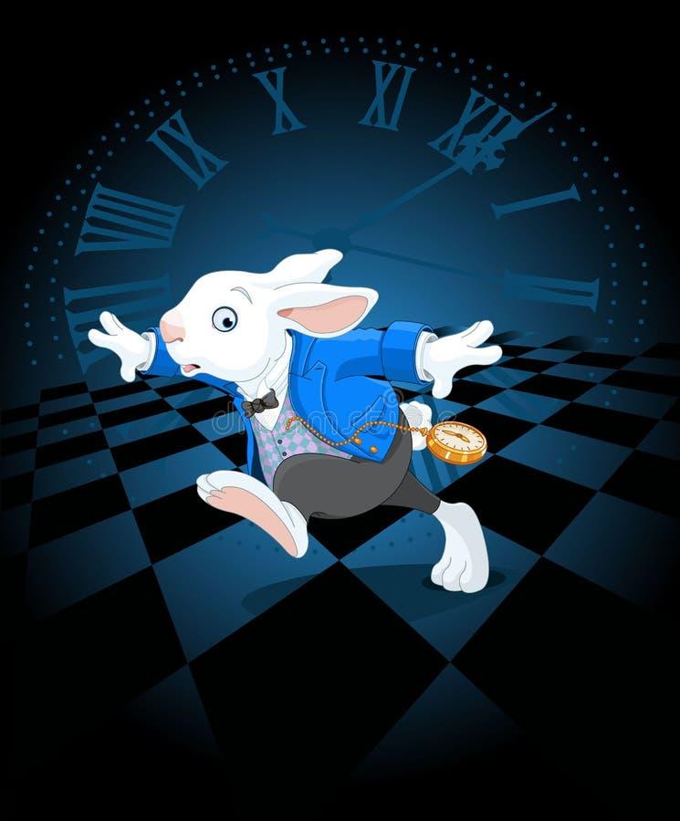 Coniglio bianco corrente illustrazione di stock