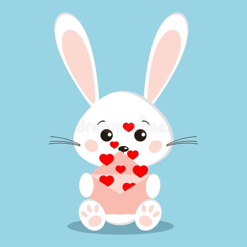 Coniglio bianco dolce e sveglio isolato nella posa di seduta con i cuori rossi di volo da una busta rosa aperta royalty illustrazione gratis