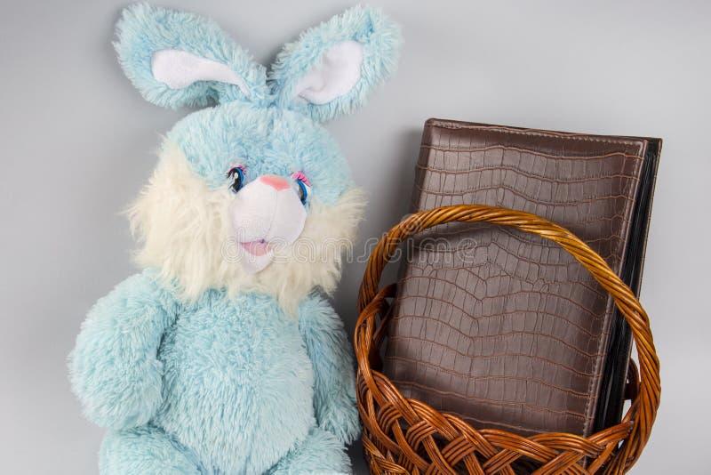 Coniglio blu e canestro di vimini Blu molle del giocattolo Album di foto pasqua piccolo coniglietto e un album fotografie stock libere da diritti