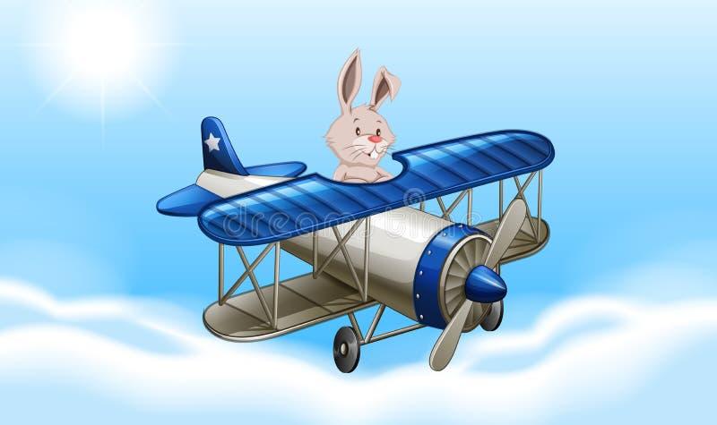 Coniglio che pilota un aeroplano royalty illustrazione gratis