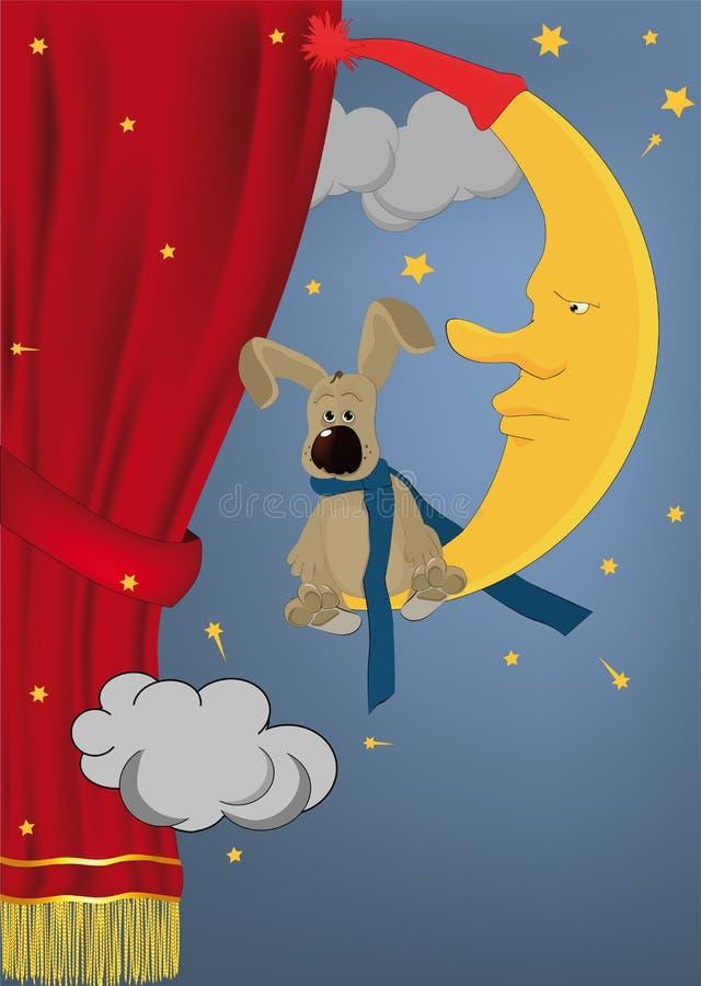 Coniglio che si siede sulla luna illustrazione vettoriale
