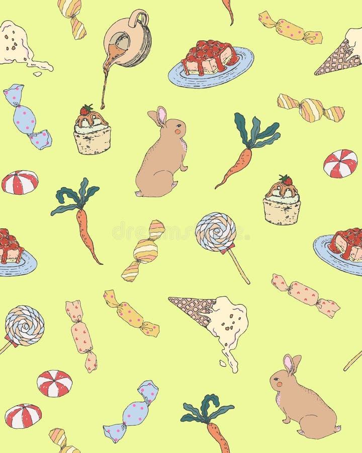 Coniglio con il vettore sveglio dell'illustrazione del modello del dessert dolce di Candy della carota illustrazione vettoriale