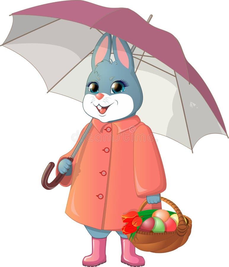Coniglio con l'ombrello fotografia stock