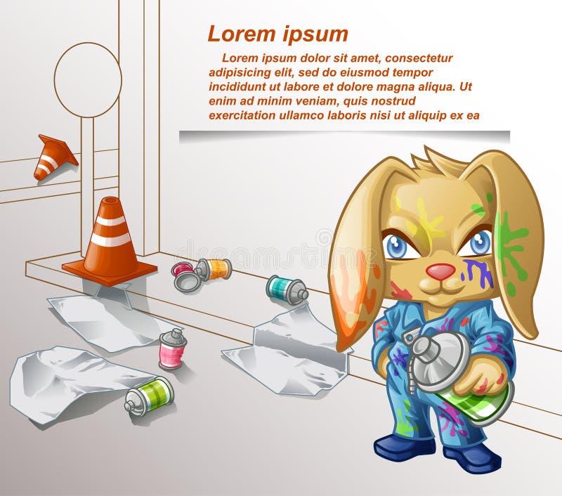 Coniglio dei graffiti ed attrezzatura di pittura illustrazione di stock