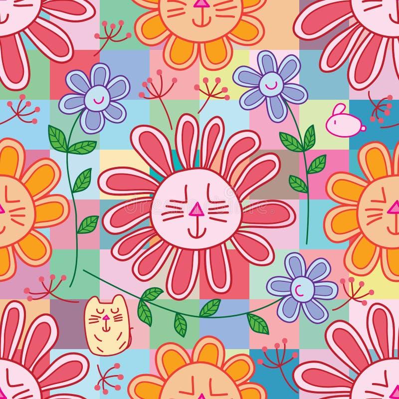 Coniglio del fiore del gatto come il modello senza cuciture del petalo libero di chrysunthemum illustrazione di stock