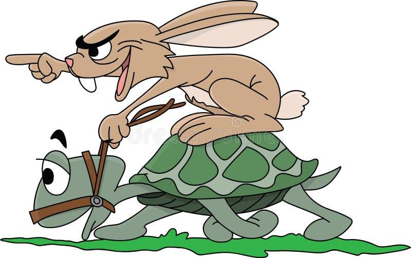 Coniglio del fumetto che guida una tartaruga incoraggiante il suo partner per essere vettore più veloce illustrazione vettoriale