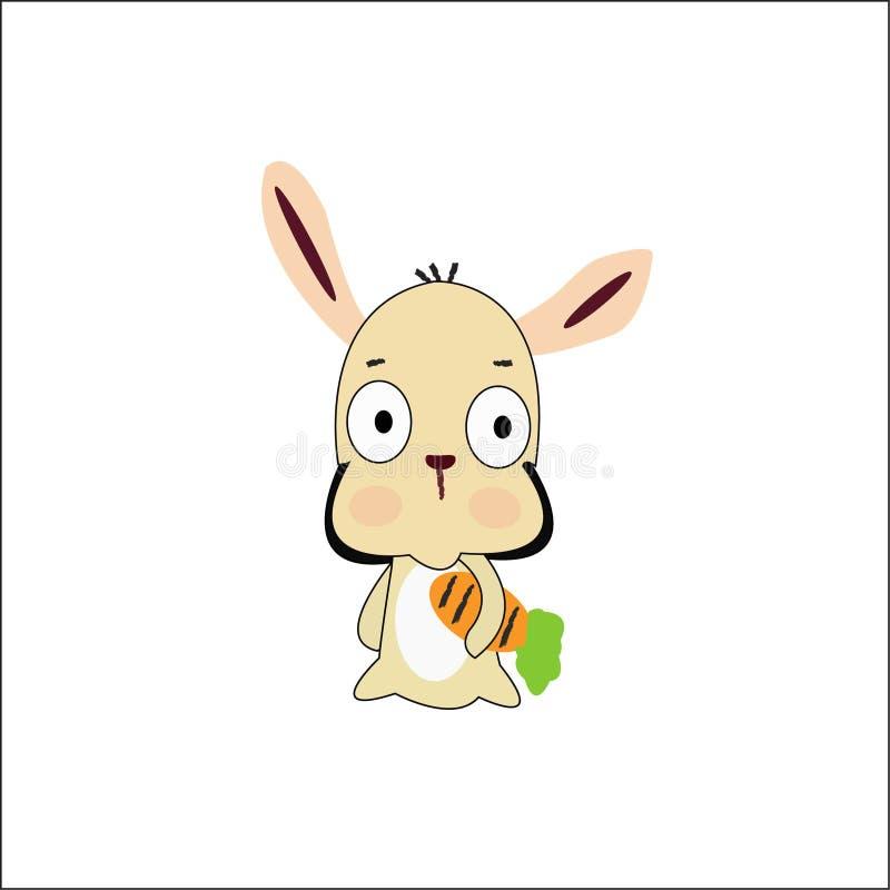 coniglio del fumetto con la carota immagine stock