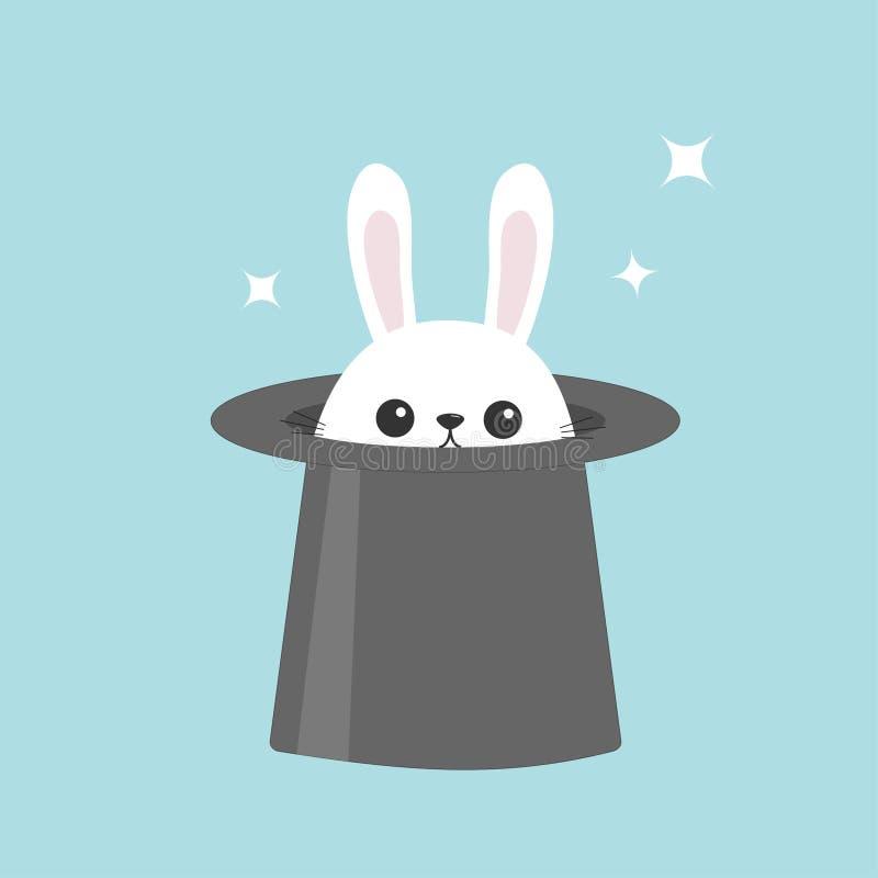 Coniglio di coniglietto bianco in cappello magico Stelle di Sining Icona capa divertente del fronte Grandi orecchie Personaggio d illustrazione vettoriale