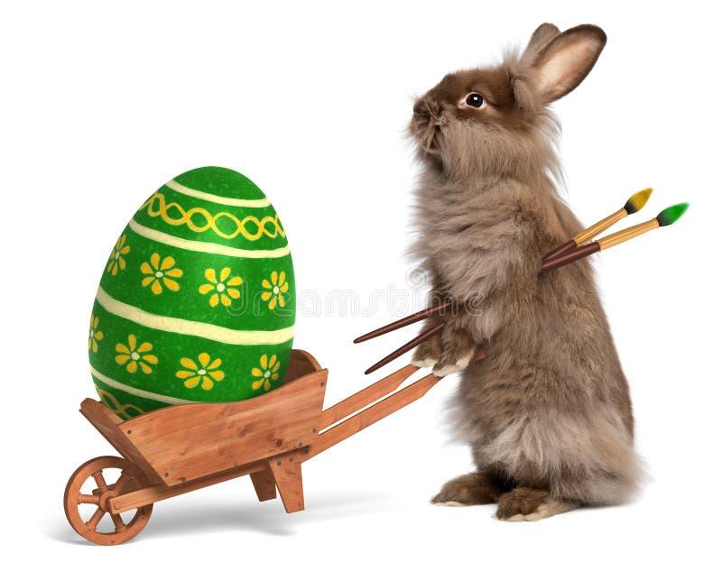 Coniglio di coniglietto divertente di pasqua con una carriola e una Pasqua verde fotografia stock libera da diritti