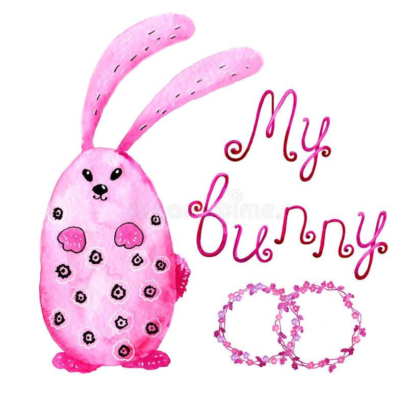 Coniglio di coniglietto rosa Assorbire acquerello e stile grafico per la progettazione delle stampe, ambiti di provenienza, carte royalty illustrazione gratis