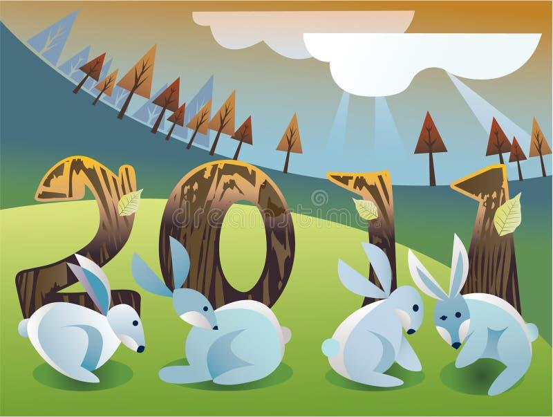 Coniglio di nuovo anno illustrazione di stock