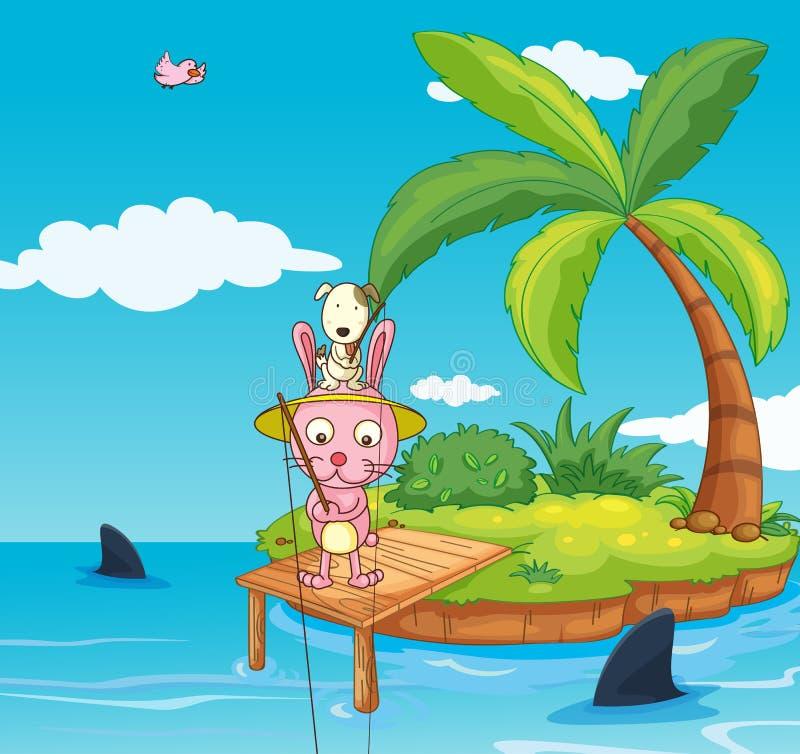 Coniglio di pesca royalty illustrazione gratis