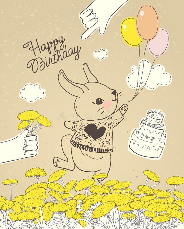 Coniglio disegnato a mano con i palloni variopinti sul prato floreale Può essere usato per la cartolina d'auguri della celebrazio illustrazione vettoriale