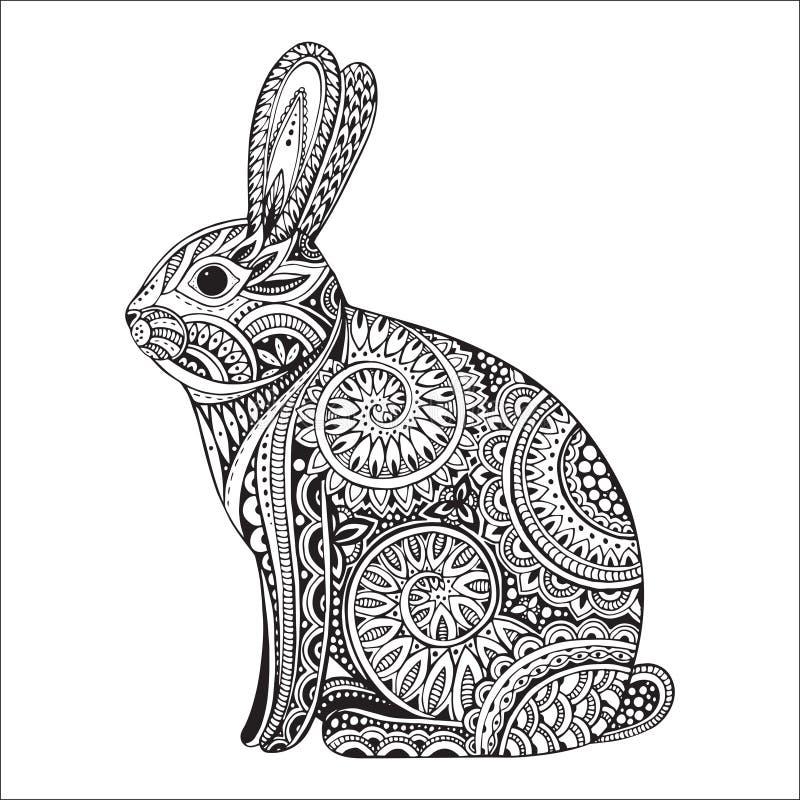 Coniglio disegnato a mano del orante con il modello floreale etnico di scarabocchio illustrazione di stock