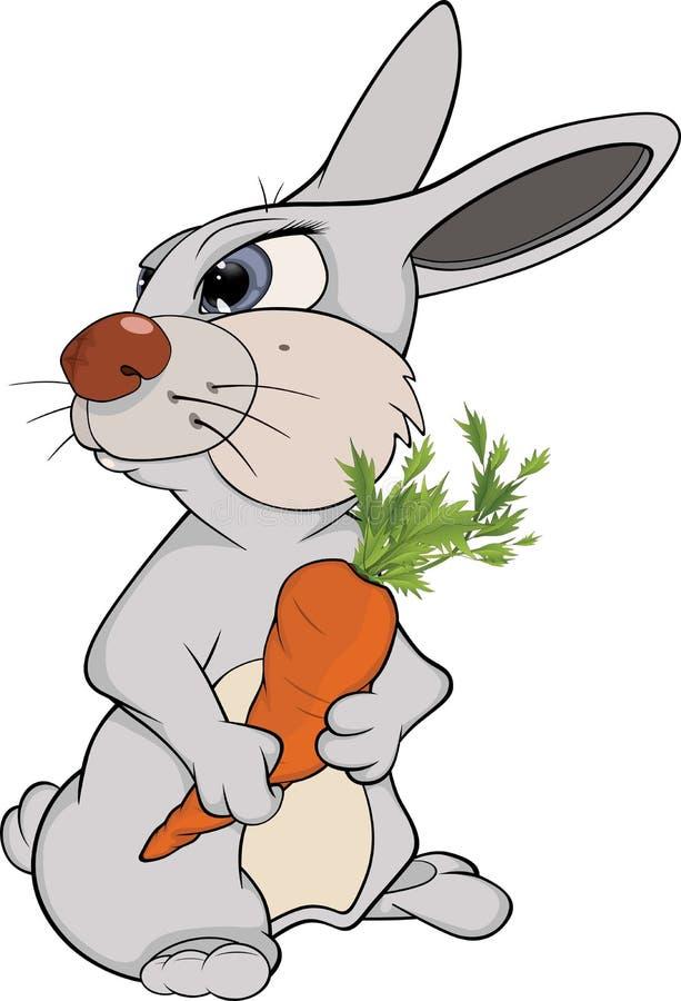 Coniglio e una carota. Fumetto illustrazione di stock